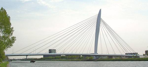 prince claus bridge asymetrical cable stayed bridge